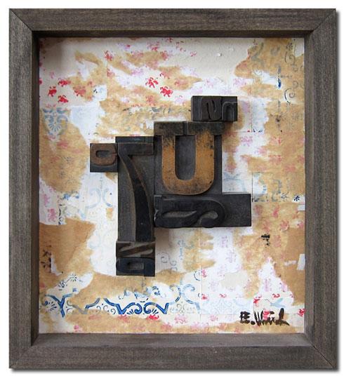 7U, 12x13, wood type assemblage & mixed media