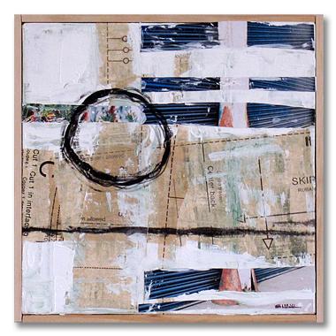 Blue door, 10x10, mixed media on canvas