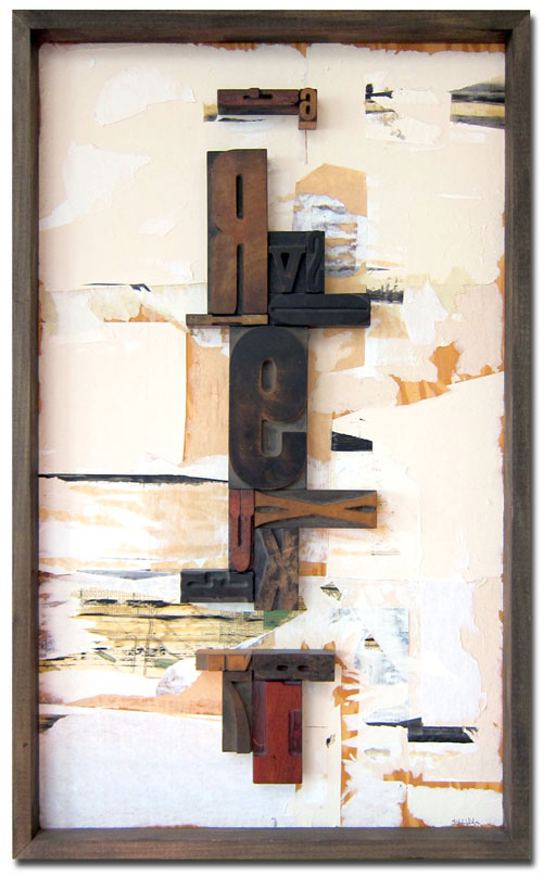 R9, 21x34, wood type assemblage & mixed media