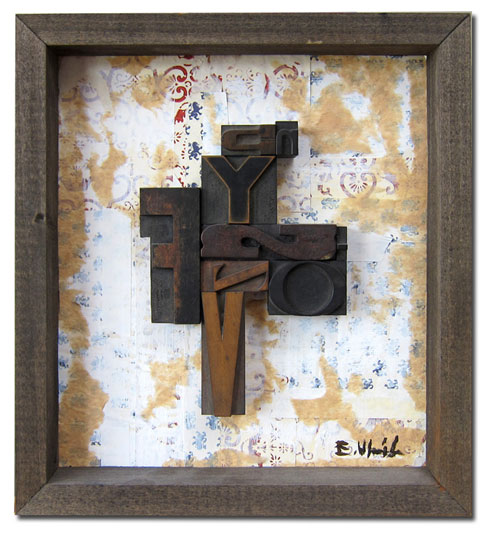YS, 12x13, wood type assemblage & mixed media